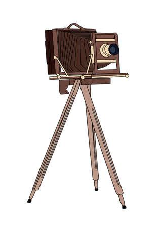 collectible: Wooden classic retro camera on tripod Vector illustration Illustration