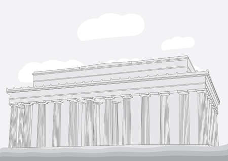 lincoln: Lincoln Memorial Center Vector illustration for magazine or newspaper