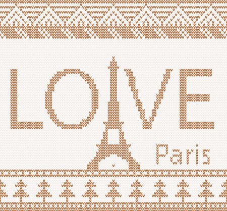 Eiffel tower  Scandinavian style seamless knitted pattern with love photo