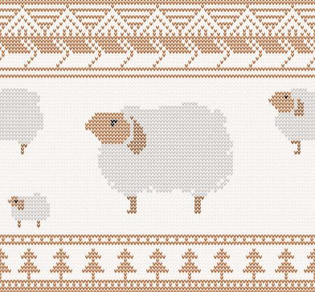 knitted pattern with sheep seamless vector illustration Vector