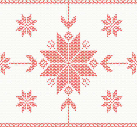 Knitted stars in Norwegian style vector seamless pattern Vector