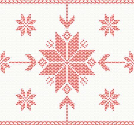 Knitted stars in Norwegian style vector seamless pattern Illustration