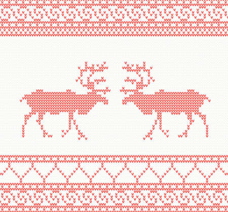 Red knitted pattern with deer seamless vector illustration Vector