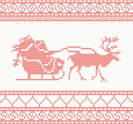 knitted pattern with Santa Claus, deer and presents Vector