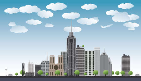 An imaginary big city with skyscrapers, blue sky,trees  vector illustration Vector