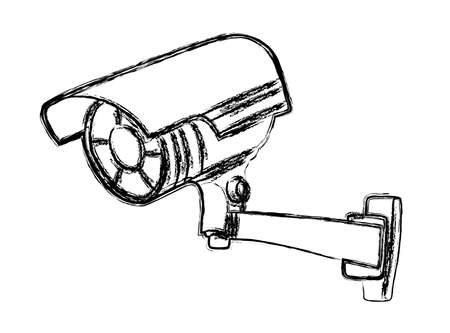 closed circuit television: Black and White Surveillance Camera (CCTV) Warning Sign Illustration