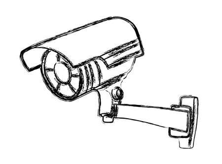 Black and White Surveillance Camera (CCTV) Warning Sign Çizim