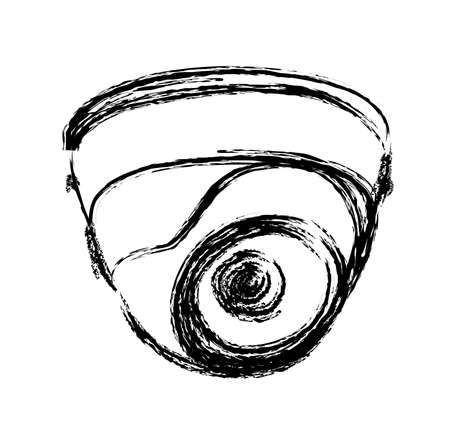 Black and White Surveillance Camera (CCTV) illustration