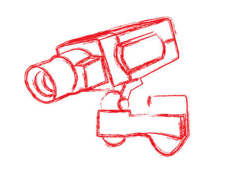 closed circuit television: Red and White Surveillance Camera (CCTV) Warning Sign. Vector illustration