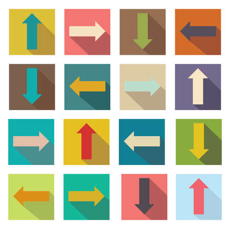 Flat icons of arrows illustration of web design elements. Vector