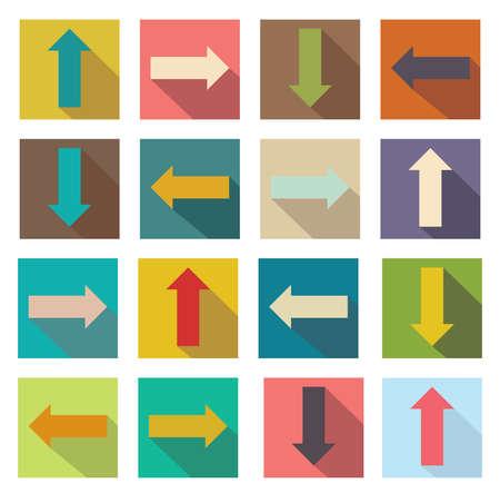 score under: Flat icons of arrows illustration of web design elements.