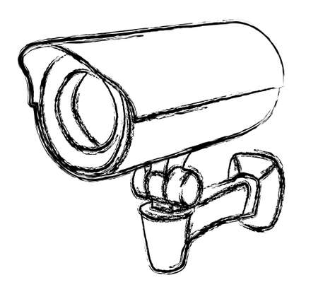 closed circuit television: Black and White Surveillance Camera (CCTV) Warning Sign. Vector illustration Illustration