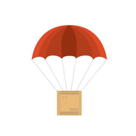 wooden crate with red parachute. Vector illustration on white background