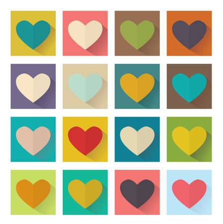Heart, flat design, square set buttons. Vector illustration Vector