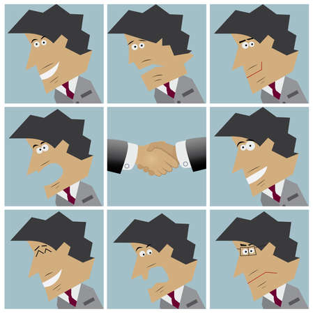 Businessman facial emotions. Set of flat design icons. Vector illustration Vector