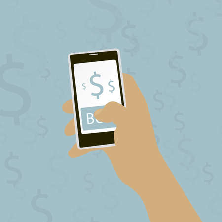 buy button: hand holding a mobile phone with buy button Vector illustration