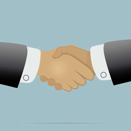 Handshake on light blue background vector illustration for business and finance Vector