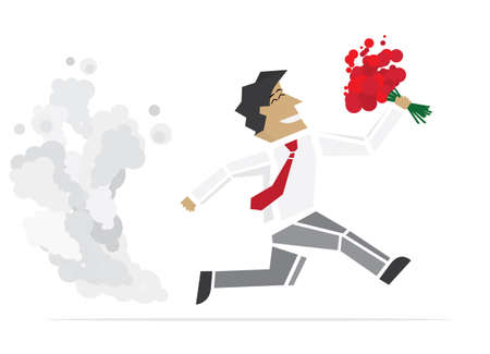 speed dating: Happy Valentine. Running Man with flowers. Vector illustration.