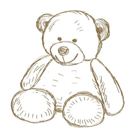 Dibujado a mano del doodle de oso de peluche ilustración vectorial
