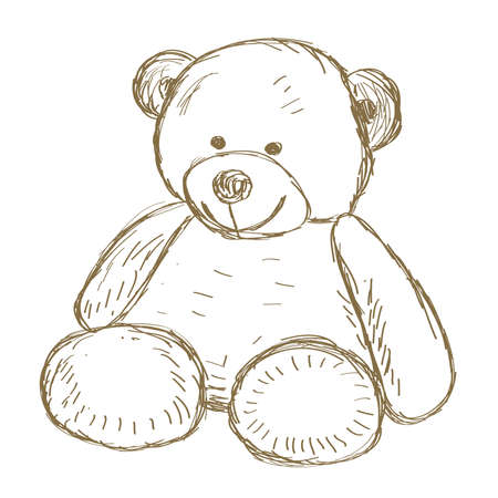 Hand drawn Teddy bear doodle Vector illustration