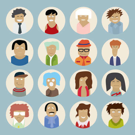Set of people icons in flat style with faces. Vector illustration of men and women Vector