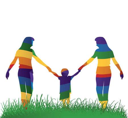 Les parents gais marche avec leur enfant Vector illustration