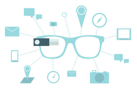 Smart glasses with icons Vector illustration on white background