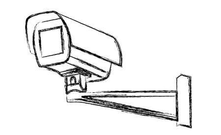 closed circuit television: Black and White Surveillance Camera (CCTV) Warning Sign. Vector illustration Illustration