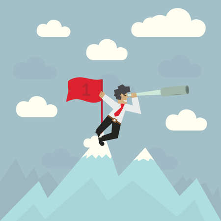 Businessman with red flag on top of the mountain looking through a spyglass, vector illustration Vector