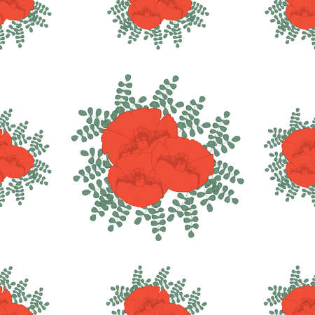 botanics: Hand drawn red poppies seamless vector illustration Illustration