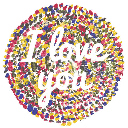 watercolor I love you vector illustration on white background Vector