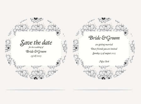 Wedding invitation cards with grey flowers and oak leaves Vector