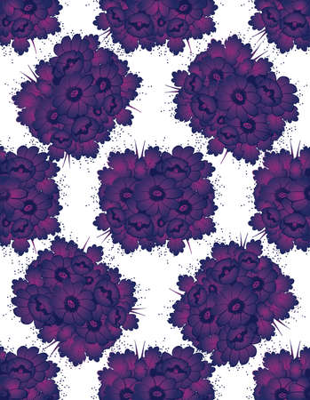 Pattern with drawing violet flowers Vector illustration Vector