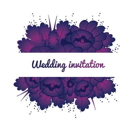 Wedding invitation card with purple flowers Vector illustration Vector