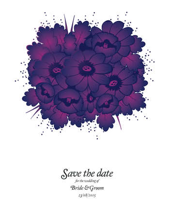 Wedding invitation card with purple flowers Vector illustration Vector