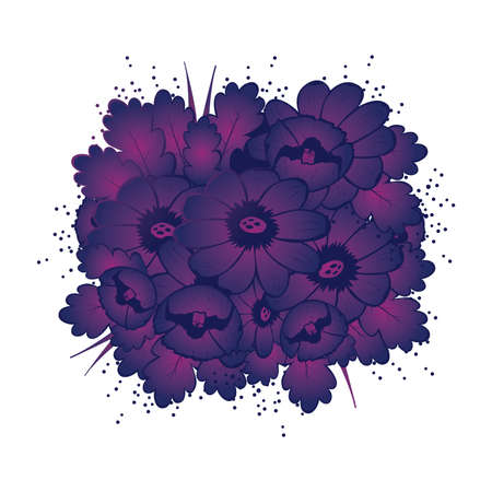Pattern with violet flower seamless vector illustration Vector