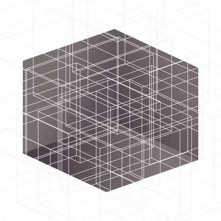 lineas blancas: L�neas blancas sobre el cubo marr�n Resumen ilustraci�n vectorial Vectores