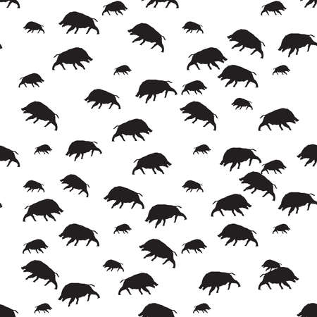 hardy: wild boar or warthog seamless pattern in black and white color Vector illustration