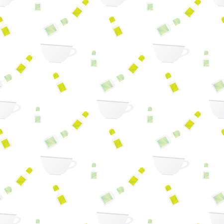 teabag: Seamless pattern with cup and teabag on white background Vector illustration. Kitchen seamless pattern Illustration