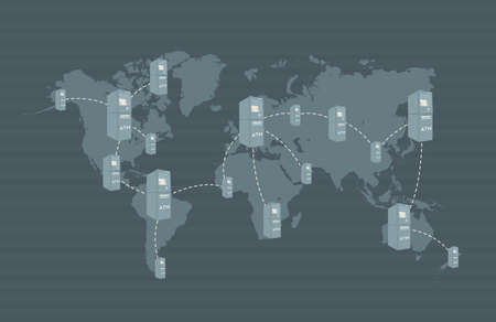 network card: ATM network on world map Concept is showing that you can use your creditdebit card all over the world Illustration