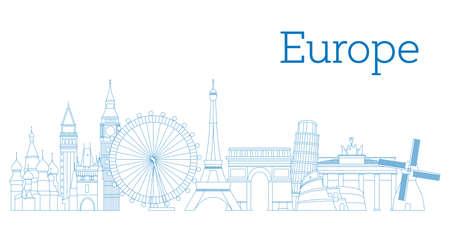 ヨーロッパ スカイライン シルエット輪郭バージョン ベクター イラストの詳細
