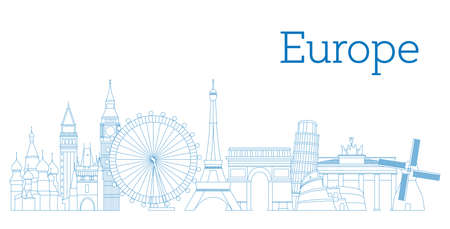 Europe skyline detailed silhouette Outline version Vector illustration Illustration