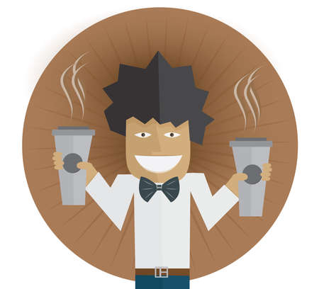 barkeeper: Waiter carrying two cups of coffee Vector illustration