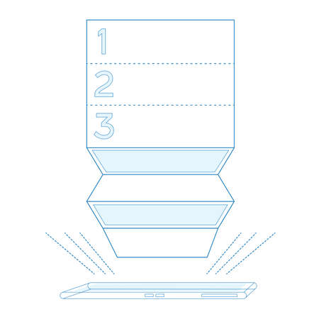 folding screens: Smartphone list in blue color Isolated Vector illustration