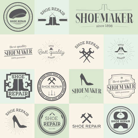 cobbler: Set of vintage shoes repair and shoemaker labels, emblems and designed elements Vector illustration