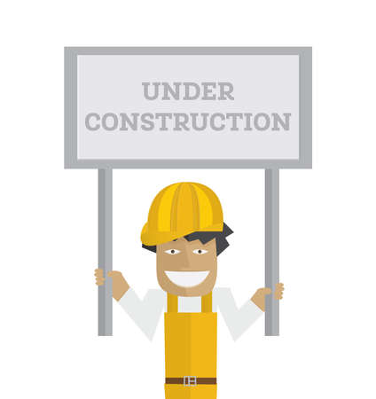 Worker with under construction sign Vector illustration