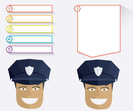 specialities: Policeman and blank message boards Vector illustration in flat style Illustration