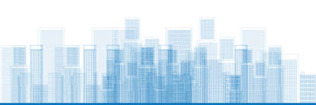 Outline City Skyscrapers in blue color Vector illustration Vector