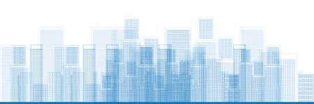 Outline Stad Wolkenkrabbers in blauwe kleur Vector illustratie