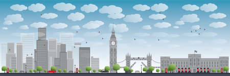 tower of london: London skyline with skyscrapers and clouds Vector illustration